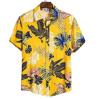Summer Man Shirt, Mens Ethnic Printed Stand Collar, Cotton Linen Stripe, Short