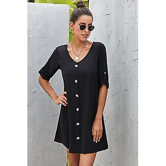 V Neck Button Front Roll Up Tab Manica Abito casual