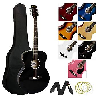 Tiger music full size acoustic guitar for beginners - black, acg2-bk