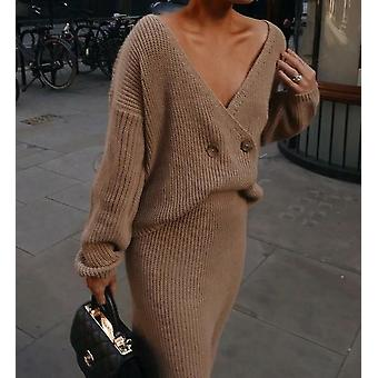 Knitted Long Sleeve Tops And Skirt-two-piece Set