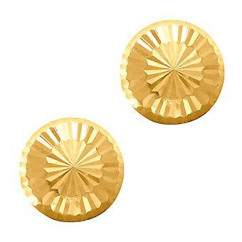 14 ك قطع الماس لامعة الذهب جولة مسمار أقراط، 7 ملم