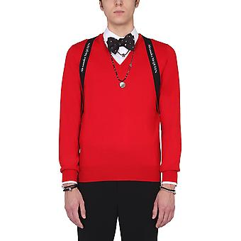Alexander Mcqueen 651189q1xbb6573 Männer's rote Wolle Pullover