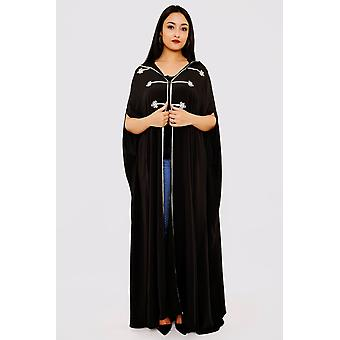 Selham princesse full-length hooded traditional cape in black