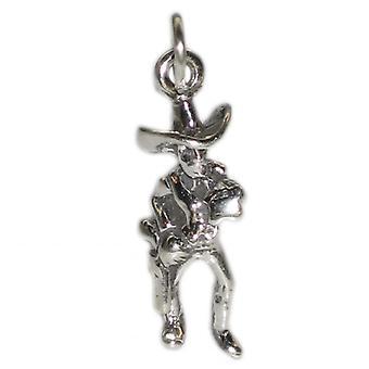 Sheriff Cowboy Sterling Silver Charm .925 X 1 Cowboys Charms - 2681