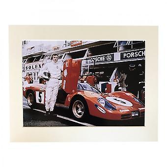 Larrini Mcqueen Stood Next To Longtail 512s Ferrari A4 Mounted Photo