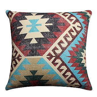 24 X 24 pulgadas de algodón tejido a mano almohada de acento con impresión Kilim, multicolor