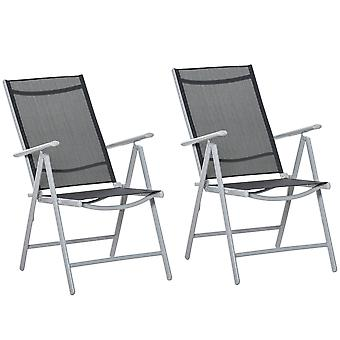 Outsunny 2 PCS Patio Folding Chair Adjustable Texteline Back Dining Chair with Armrest, Patio Dining Chairs Portable for Camping Garden Pool Beach, Deck Lounge Chairs Black