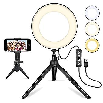 "6""led Selfie Ring Light,,dimmable Desktop Beauty Ringlight,for Youtube, Makeup, Video Shooting, Vlog"