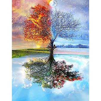 Diy 5d Painting Seasons Tree Embroidery Wall Decoration