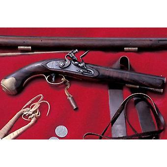 Flintlock pistool gebruikt in de bonthandel. Ingelijste foto. Flintlock pistool te verhandelen op een.