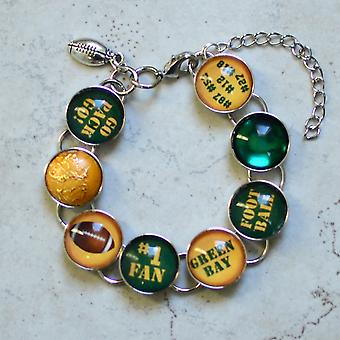 I Love The Green Bay Packers - Glass Charm Bracelet With Football