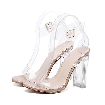 Sandals Pvc Jelly Crystal Heel Transparent Clear High Heels Summer Sandals