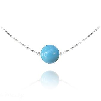 Silver and turquoise choker necklace with swarovski crystal