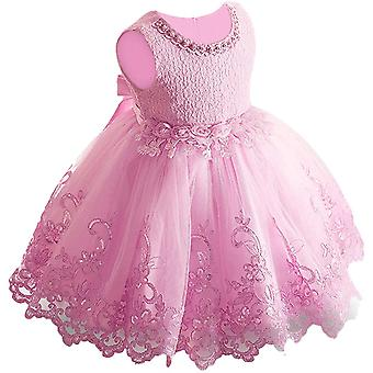 Baby Meisje Formele Doop Prinses Jurk 981-roze
