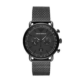 أرماني Ar11264 الأسود الطلب الأسود الفولاذ المقاوم للصدأ حزام جنتس ووتش