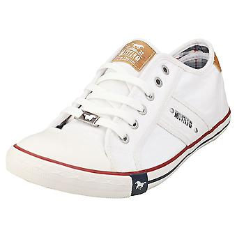 Mustang Lace Up Low Top Mens Casual Trainers in White