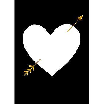 Hallmark Studio Ink - White Heart With Arrow Card