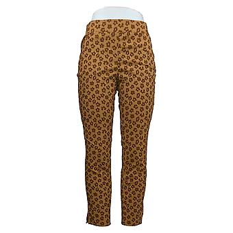 Denim & Co. Women's Pants Printed Smooth Waist w/ Hem Slit Brown A388188