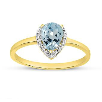 LXR 10k Oro Giallo Pera Acquamarina e Diamond Ring 0.49 ct
