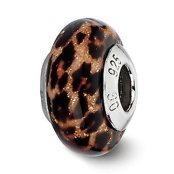 925 Sterling Silver Polerade reflektioner Brun Jaguar Glitter Överlägg Glas Pärla Charm Hänge Halsband Smycken Gåvor fo
