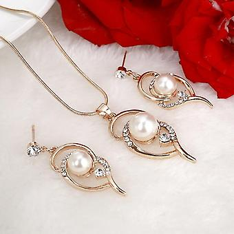 Simulated Pearl Stud Earrings, Necklace, Wedding Jewelry Sets