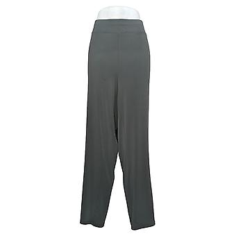 Susan Graver Women's Plus Pants Pull-On Wide-Leg W/Buttons Gray A373722