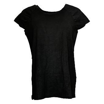 Belle by Kim Gravel Women's Top Reg Knit Ruched Cap Sleeve Black A378629