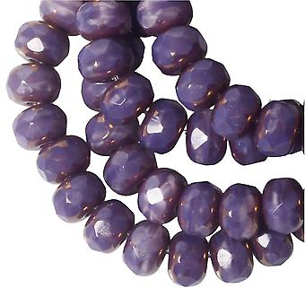 Czech Glass Beads, Faceted Rondelle 3x5mm, Purple Silk, Bronze Finish, 1 Strand, by Raven's Journey