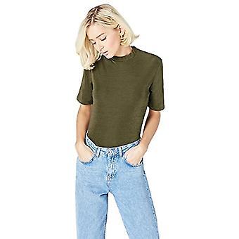 Amazon brand - find. Women's Crew neck T-shirt, Green, 46, Label: L