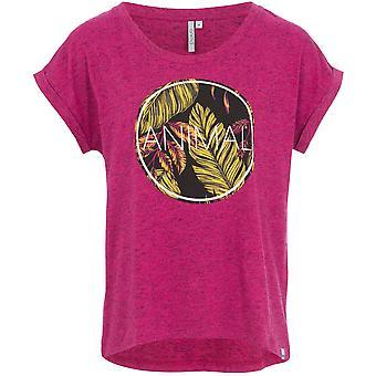 Animal Tropic Circle Short Sleeve T-Shirt in Damson Purple