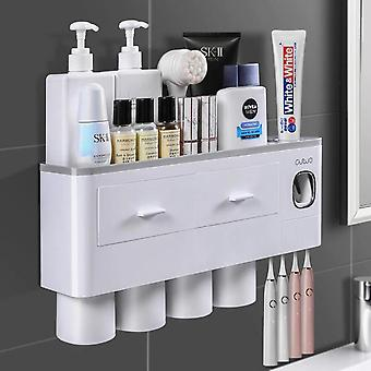 Glass Suit Bathroom Tooth Cleaners Wall Mounted Toothbrush Holder Toothpaste Dispenser