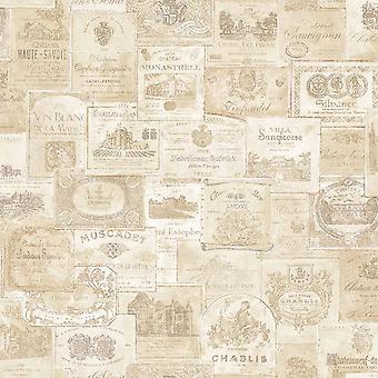 Galerie Wine Labels Cream Wallpaper