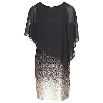 Frank Lyman Black & Gold Sheer Overlay Evening Dress