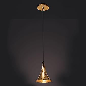 Mantra Jazz Oro Single Cone Pendant Light In Polished Gold