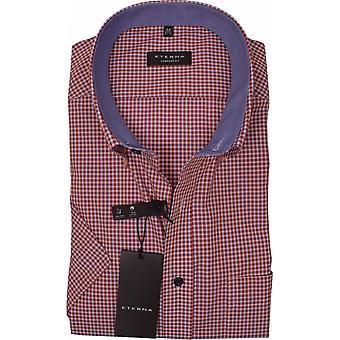 Eterna Mode Eterna Mens Big Size Comfort Fit Non Iron Micro Gingham Check Button Down Collar Casual Short Sleeve Shirt