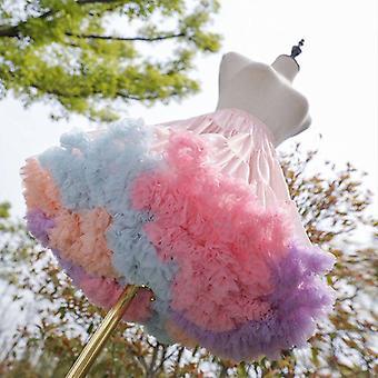 kvinners elastisk midje puffy tulle petticoat, regnbue sky kort tutu skjørt