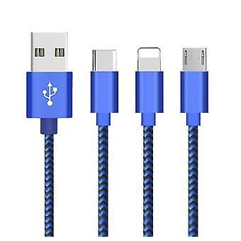 2Kpl type-c sininen 1m latauskaapeli yksi pää nopea lataus datakaapeli sopii type-c / iphone / android az17274
