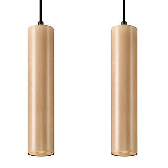 Sollux LINO SL.0637 Twin Hanging Hanglamp Natuurlijk Hout GU10