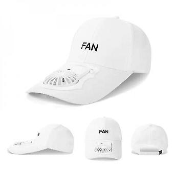 Summer Fan Cooling Baseball Caps  Usb Charging Breathable Shade Sunscreen Cap(WHITE)