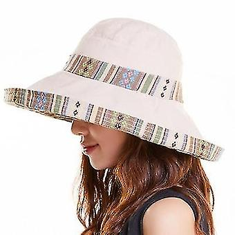 Summer Ladies National Style Double-sided Wearable Beach Hats Big Edge Sunhat, Size:One Size(Beige)