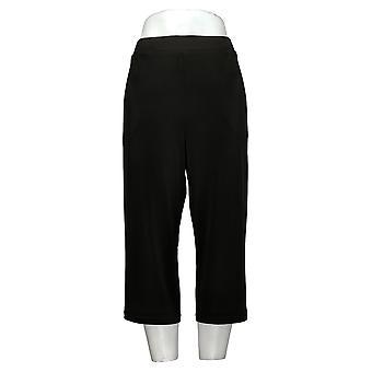 Susan Graver Pantalones de Mujer Reg Cropped Poliéster Negro A303341