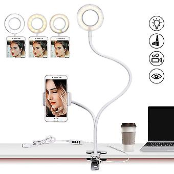 Flexible Usb Table Desk Light With Led Ring Tabletop Stand And Flash Lamp