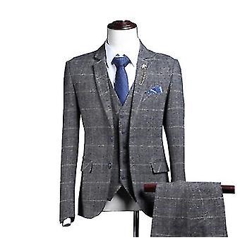 חליפות עסקים בלייזר צמר משובץ בכושר דק ומכנסיים אפוד