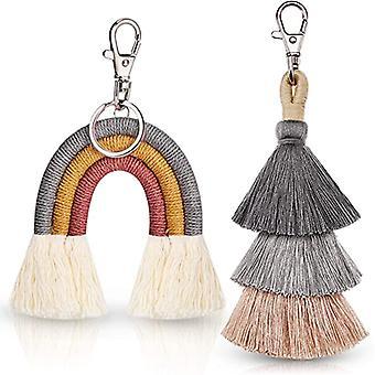2 db Boho Rainbow kulcstartók Pom Pom Macrame Bojt kulcstartók női lányoknak