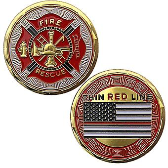 American Firefighter Painted Glory Gold Plated Commemorative Coin Collection Fire Fighting Gold Coin Commemorative Coin