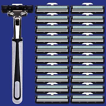 1+20kpl manuaalinen parranajokone kaksinkertainen terä parranajokone