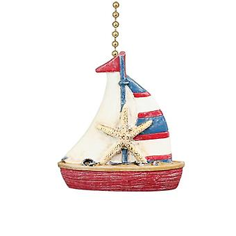 Nautical Coastal Red and Blue Sailboat Ceiling Fan Light Pull
