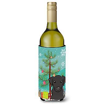 Weihnachtsbaum und schwarzer Labrador Weinflasche Getränk Isolator Hugger