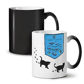 Kitty Fish Sea Ocean Cat NEW Black Colour Changing Tea Coffee Ceramic Mug 11 oz | Wellcoda