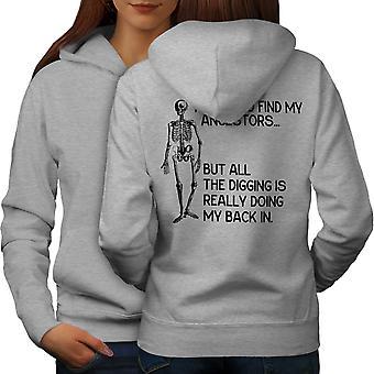 Funy Skeleton Naiset GreyHoodie takaisin | Wellcoda, mitä sinä olet?